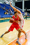 Brim Marlowe Antwaun #25 of Nam Ching Basketball Team tries to score next to SCAA during the Hong Kong Basketball League game between SCAA and Nam Ching at Southorn Stadium on May 4, 2018 in Hong Kong. Photo by Yu Chun Christopher Wong / Power Sport Images