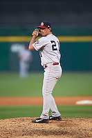 Louisville Bats relief pitcher Chad Rogers (21) gets ready to deliver a pitch during a game against the Buffalo Bisons on June 22, 2016 at Coca-Cola Field in Buffalo, New York.  Buffalo defeated Louisville 8-1.  (Mike Janes/Four Seam Images)