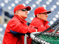 2 April 2011: Washington Nationals Owner Mark Lerner watches batting practice next to hitting coach Rick Eckstein (right) prior to a game against the visiting Atlanta Braves at Nationals Park in Washington, District of Columbia. The Nationals defeated the Braves 6-3 in the second game of their season opening series. Mandatory Credit: Ed Wolfstein Photo