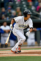 Shortstop Andres Jimenez (4) of the Columbia Fireflies bats in a game against the Lakewood BlueClaws on Friday, May 5, 2017, at Spirit Communications Park in Columbia, South Carolina. Lakewood won, 12-2. (Tom Priddy/Four Seam Images)