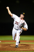 Salt River Rafters pitcher Aaron Barrett #35, of the Washington Nationals organization, during an Arizona Fall League game against the Phoenix Desert Dogs at Salt River Fields at Talking Stick on October 16, 2012 in Scottsdale, Arizona.  The game was called after 11 innings with a 3-3 tie.  (Mike Janes/Four Seam Images)