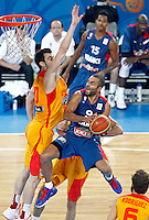 "France`s  Tony Parker (R) in action during European basketball championship ""Eurobasket 2013"" semifinal basketball game between Spain and France in Stozice Arena in Ljubljana, Slovenia, on September 20. 2013. (credit: Pedja Milosavljevic  / thepedja@gmail.com / +381641260959)"