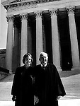 Justice Sandra Day O'Connor and Chief Justice Warren Burger in front of Supreme Court, American Jurist member of Supreme Court of the United States appointed by President Reagan,