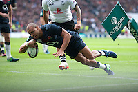 Jonathan Joseph of England scores early on in the corner during the Old Mutual Wealth Series match between England and Fiji at Twickenham Stadium on Saturday 19th November 2016 (Photo by Rob Munro)