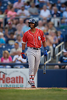 New Hampshire Fisher Cats Josh Palacios (15) bats during an Eastern League game against the Trenton Thunder on August 20, 2019 at Arm & Hammer Park in Trenton, New Jersey.  New Hampshire defeated Trenton 7-2.  (Mike Janes/Four Seam Images)