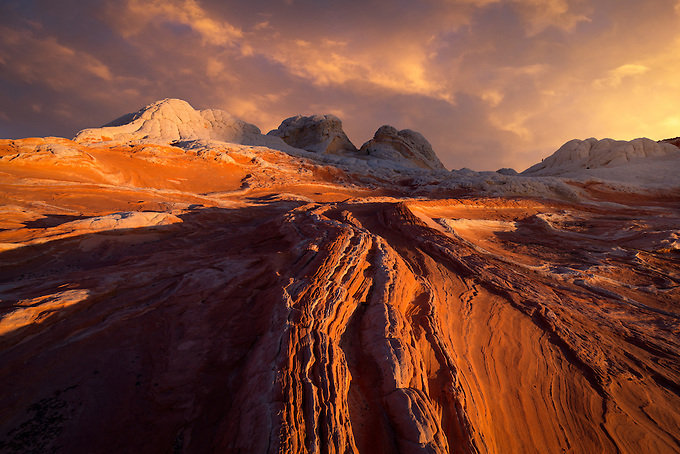 Beautiful sunrise light on the unique sandstone formations in the Vermillion Cliffs wilderness.