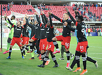 WASHINGTON, DC - MARCH 07: D.C. United celebrates the victory during a game between Inter Miami CF and D.C. United at Audi Field on March 07, 2020 in Washington, DC.