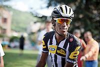 Daniel Teklehaimanot (ERI/MTN-Qhubeka) post-race<br /> <br /> stage 16: Bourg de Péage - Gap (201km)<br /> 2015 Tour de France