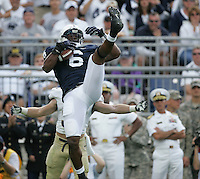 State College, PA - 09/15/2012:  Penn State LB Gerald Hodges pulls down an interception during the 1st quarter. Penn State defeated Navy by a score of 34-7 on Saturday, September 15, 2012, at Beaver Stadium.  The win was the first for new Penn State head coach Bill O'Brien...Photo:  Joe Rokita / JoeRokita.com..Photo ©2012 Joe Rokita Photography