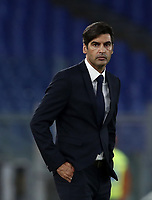 Football, Serie A: AS Roma - Sassuolo, Olympic stadium, Rome, September 15, 2019. <br /> AS Roma' s coach Paulo Fonseca  looks on during the Italian Serie A football match between Roma and Sassuolo at Olympic stadium in Rome, on September 15, 2019.<br /> UPDATE IMAGES PRESS/Isabella Bonotto