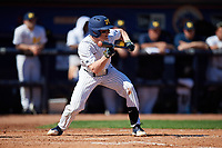 Michigan Wolverines shortstop Jack Blomgren (18) squares to lay down a bunt during a game against Army West Point on February 18, 2018 at Tradition Field in St. Lucie, Florida.  Michigan defeated Army 7-3.  (Mike Janes/Four Seam Images)
