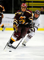3 January 2009: Ferris State Bulldogs' center Aaron Lewicki, a Junior from Livonia, MI, in action against the Colgate Raiders during the consolation game of the 2009 Catamount Cup Ice Hockey Tournament hosted by the University of Vermont at Gutterson Fieldhouse in Burlington, Vermont. The two teams battled to a 3-3 draw, with the Bulldogs winning a post-game shootout 2-1, thus placing them third in the tournament...Mandatory Photo Credit: Ed Wolfstein Photo