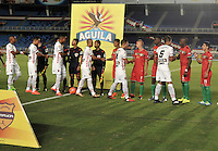 CALI - COLOMBIA – 13 -02-2017: Los jugadores de Cortulua, y Patriotas FC, durante partido entre Cortulua y Patriotas FC, por la fecha 3 de la Liga Aguila I 2017 jugado en el estadio Pascual Guerrero de la ciudad de Cali. / The players of Cortulua and Patriotas FC, during a match Cortulua and Patriotas FC, for the date 3 of the Liga Aguila I 2017 played at the Pascual Guerrero stadium in Cali city. Photo: VizzorImage / Luis Ramirez / Staff.