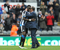 Moussa Sissoko of Newcastle United celebrates at the final whistle with Rafa Benitez manager of Newcastle United during the Barclays Premier League match between Newcastle United and Swansea City played at St. James' Park, Newcastle upon Tyne, on the 16th April 2016