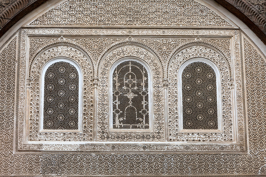 Fes, Morocco.  Stucco Decoration with Calligraphy and Floral Design, Attarine Medersa, Fes El-Bali.