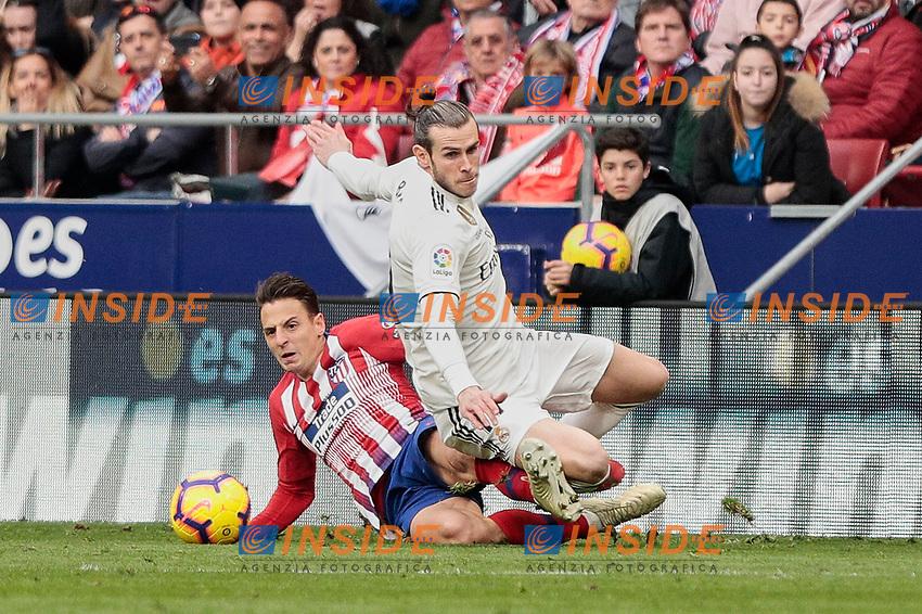 Atletico de Madrid's Santiago Arias and Real Madrid's Gareth Bale fight for the ball during La Liga match between Atletico de Madrid and Real Madrid at Wanda Metropolitano Stadium in Madrid, Spain. February 09, 2019. (ALTERPHOTOS/A. Perez Meca)<br /> Liga Campionato Spagna 2018/2019<br /> Foto Alterphotos / Insidefoto <br /> ITALY ONLY