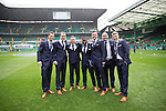 St Johnstone v Dundee United....17.05.14   William Hill Scottish Cup Final<br /> From left, Gary McDonald, Dave Mackay, Paddy Cregg, Nigel Hasselbaink, Gary Miller, Lee Croft and David Wotherspoon on the pitch at Celtic Park ahead of kick off<br /> Picture by Graeme Hart.<br /> Copyright Perthshire Picture Agency<br /> Tel: 01738 623350  Mobile: 07990 594431