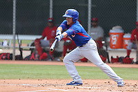 Logan Watkins of the Chicago Cubs bats during a Minor League Spring Training Game against the Los Angeles Angels at the Los Angeles Angels Spring Training Complex on March 23, 2014 in Tempe, Arizona. (Larry Goren/Four Seam Images)