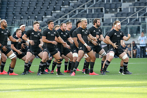 14th November 2020, Sydney, Australia;  Australian team performs their Haka. Tri Nations rugby union test match,  New Zealand All Blacks versus Argentina Pumas. Bankwest Stadium, Sydney, Australia.