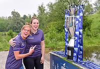 Laura Deloose (14) of Anderlecht and Britt Vanhamel (4) of Anderlecht pictured during the celebration of their Belgian Scooore Womens Super League 2020 - 2021 title after winning the championship , saturday 5 th of June 2021  in Anderlecht , Belgium . PHOTO SPORTPIX.BE | SPP | STIJN AUDOOREN