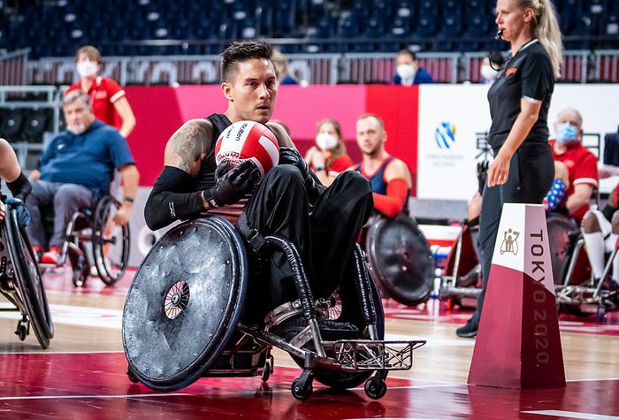 Trevor Hirschfield, Tokyo 2020 - Wheelchair Rugby // Rugby en fauteuil roulant.<br /> Canada takes on The USA in the preliminary round // Le Canada affronte Les Etats-Unis d'Amérique au tour préliminaire. 26/08/2021.