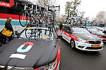 Radioshack Leopard Team Trek bikes lined up at the start of the 104th edition of the Milan-San Remo cycle race at Castello Sforzesco in Milan, 17th March 2013 (Photo by Eoin Clarke 2013)