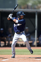 Milwaukee Brewers outfielder Omar Garcia (36) during an Instructional League game against the Los Angeles Angels on October 11, 2013 at Tempe Diablo Stadium Complex in Tempe, Arizona.  (Mike Janes/Four Seam Images)