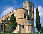 "Tuscany, Italy<br /> Abbazia di Sant'Antimo, a medieval abbey in the Val d""Orcia near the village of Castelnuovo dell'Abate"