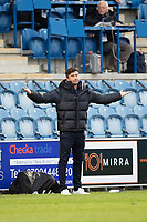 Harry Kewell, Manager of Oldham Athletic unhappy with a decision during Colchester United vs Oldham Athletic, Sky Bet EFL League 2 Football at the JobServe Community Stadium on 3rd October 2020