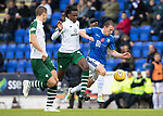 St Johnstone v Celtic…07.10.18…   McDiarmid Park    SPFL<br />David McMillan battles with Dedryck Boyata<br />Picture by Graeme Hart. <br />Copyright Perthshire Picture Agency<br />Tel: 01738 623350  Mobile: 07990 594431