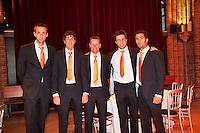 04-04-12, Netherlands, Amsterdam, Tennis, Daviscup, Netherlands-Rumania, Dinner, Team, v.l.n.r.: Thomas Schoorel, Robin Haase, Captain Jan Siemerink, Igor Sijsling en Jean-Julien Rojer.