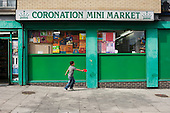 Mini market shop on the Mozart Estate, North Westminster, which has experienced problems with postcode gang violence.