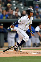 Second baseman Luis Carpio (18) of the Columbia Fireflies bats in a game against the Lakewood BlueClaws on Friday, May 5, 2017, at Spirit Communications Park in Columbia, South Carolina. Lakewood won, 12-2. (Tom Priddy/Four Seam Images)