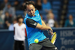 USA's Michael Chang eyes on the ball during the HSBC Tennis Cup series at First Niagara Center in Buffalo, NY on October 22, 2011