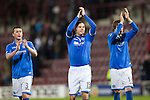 Hearts v St Johnstone....02.11.13     SPFL<br /> Tom Scobbie, Gary Miller and Murray Davidson applaud the fans at full time<br /> Picture by Graeme Hart.<br /> Copyright Perthshire Picture Agency<br /> Tel: 01738 623350  Mobile: 07990 594431