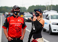 Sep 27, 2020; Gainesville, Florida, USA; Crew members for NHRA top fuel driver Leah Pruett during the Gatornationals at Gainesville Raceway. Mandatory Credit: Mark J. Rebilas-USA TODAY Sports