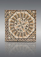 Pictures of a geometric Roman mosaic, from the ancient Roman city of Thysdrus. 3rd century AD. El Djem Archaeological Museum, El Djem, Tunisia.