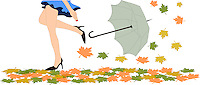 Stock Vector: Tall beautiful girl walking over autumn leaves scattered on ground and her umbrella blowing away in the wind, isolated on white background.<br /> <br /> This image is also available as scalable EPS and PNG format(with transparent background).