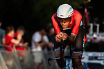 Luxembourg Champion Kévin Geniets (LUX) Groupama-FDJ in action during Stage 1 of La Vuelta d'Espana 2021, a 7.1km individual time trial around Burgos, Spain. 14th August 2021. <br /> Picture: Unipublic/Charly Lopez | Cyclefile<br /> <br /> All photos usage must carry mandatory copyright credit (© Cyclefile | Unipublic/Charly Lopez)