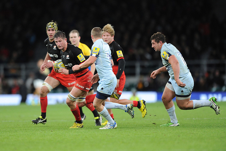 Ernst Joubert of Saracens charges upfield during the Premiership Rugby match between Saracens and Worcester Warriors - 28/11/2015 - Twickenham Stadium, London<br /> Mandatory Credit: Rob Munro/Stewart Communications