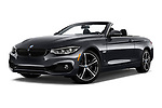 Stock pictures of low aggressive front three quarter view of a 2018 BMW 4 Series 430i 2 Door Convertible