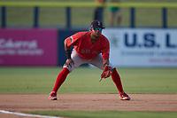 Salem Red Sox third baseman Antoni Flores (9) on defense against the Kannapolis Cannon Ballers at Atrium Health Ballpark on July 29, 2021 in Kannapolis, North Carolina. (Brian Westerholt/Four Seam Images)