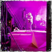 """Fusion-Festival 2014 auf dem Gelaende des Kulturkosmos e.V. in Laerz/Mecklenburg-Vorpommern.<br /> Bis zu 65.000 Menschen kommen jaehrlich fuer 5-6 Tage  zur """"Fusion"""" nach Laerz.<br /> Das linke Festival, was von den Besuchern und Machern scherzhaft auch als """"Ferienkommunismus"""" bezeichnet wird, ist eine Mischung aus Techno-Dancefloors, Theater und Live-Auftritten von politischen Bands.<br /> Die Karten fuer dieses Festival sind nur ueber die Fusion-Internetseite per Losverfahren zu kaufen. Nur ca. jede dritte bis vierte Anmeldung fuer eine Karte hat Erfolg.<br /> Im Bild: Ein Auftritt der Band Bonaparte.<br /> 26.6.2014, Laerz<br /> Copyright: Christian-Ditsch.de<br /> [Inhaltsveraendernde Manipulation des Fotos nur nach ausdruecklicher Genehmigung des Fotografen. Vereinbarungen ueber Abtretung von Persoenlichkeitsrechten/Model Release der abgebildeten Person/Personen liegen nicht vor. NO MODEL RELEASE! Don't publish without copyright Christian-Ditsch.de, Veroeffentlichung nur mit Fotografennennung, sowie gegen Honorar, MwSt. und Beleg. Konto: I N G - D i B a, IBAN DE58500105175400192269, BIC INGDDEFFXXX, Kontakt: post@christian-ditsch.de<br /> Urhebervermerk wird gemaess Paragraph 13 UHG verlangt.]"""