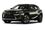 Stock pictures of low aggressive front three quarter view of a 2019 Lexus UX Privilege-Line 5 Door SUV