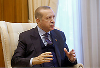 Pictured: Turkey president Recep Tayyip Erdogan during his meeting with Prime Minister Alexis Tsipras at the Maximos Mansion<br /> Re: Turkey's president Recep Tayyip Erdogan has begun a landmark visit to Greece. Thursday 07 December 2017