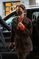 US model Bella Hadid is arriving to a restaurant in Milan during Milan Fashion Week. Milan (Italy) on February 28th, 2021. Credit: ActionPress/MediaPunch **FOR USA ONLY**