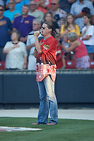 Country music artist Jason Michael Carroll sings the National Anthem prior to the start of the 2018 Carolina League All-Star Classic at Five County Stadium on June 19, 2018 in Zebulon, North Carolina. The South All-Stars defeated the North All-Stars 7-6.  (Brian Westerholt/Four Seam Images)