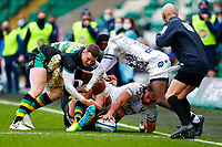 21st March 2021; Franklin's Gardens, Northampton, East Midlands, England; Premiership Rugby Union, Northampton Saints versus Bristol Bears; Steven Luatua of Bristol Bears is bundled into touch