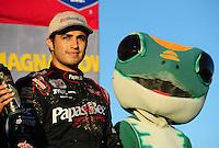 Nov. 6, 2010; Las Vegas, NV USA; LOORRS pro two unlimited driver Rodrigo Ampudia on the podium following his third place finish during round 13 at the Las Vegas Motor Speedway short course. Mandatory Credit: Mark J. Rebilas-US PRESSWIRE