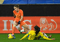 20200304 Valenciennes , France : Dutch Vivianne Miedema (9) and Brazilian Antonia (3)  pictured during the female football game between the national teams of The Netherlands and Brasil on the first matchday of the Tournoi de France 2020 , a prestigious friendly womensoccer tournament in Northern France , on wednesday 4 th March 2020 in the Stade du Hainaut of Valenciennes , France . PHOTO SPORTPIX.BE | DIRK VUYLSTEKE